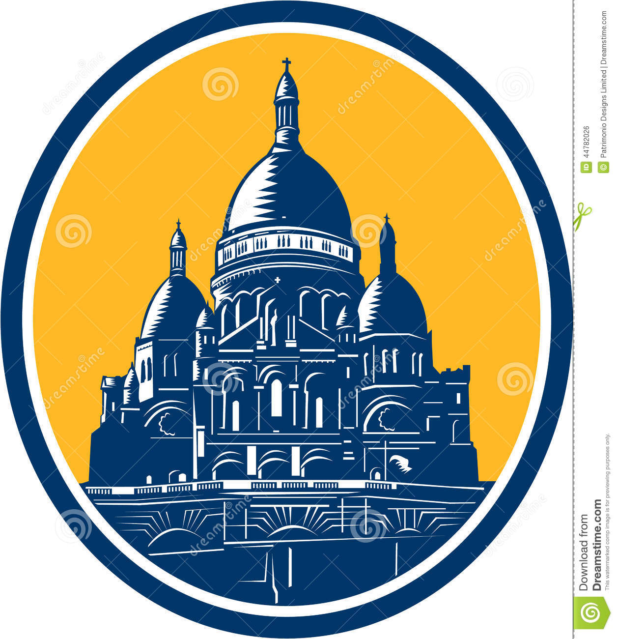 Dome Of Sacre Coeur Basilica Paris Retro Stock Vector.