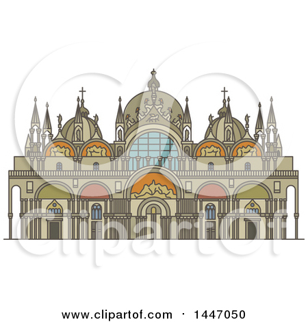 Clipart of a Line Drawing Styled Italian Landmark, Saint Mark.