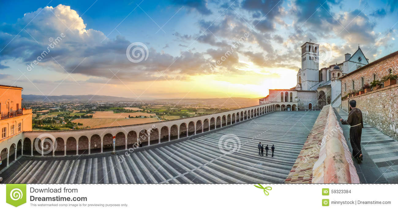 Basilica Of St. Francis Of Assisi At Sunset, Umbria, Italy Stock.