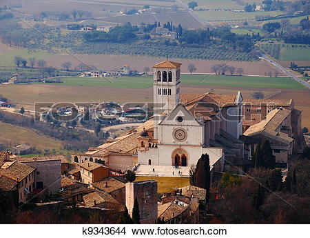 Stock Photo of The Basilica of San Francesco d'Assisi, Italy.