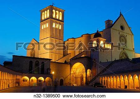 Stock Photography of Assisi, Basilica di San Francesco, Basilica.