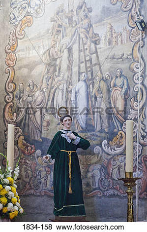 Pictures of Mural on the wall of a church depicting crucifixion of.