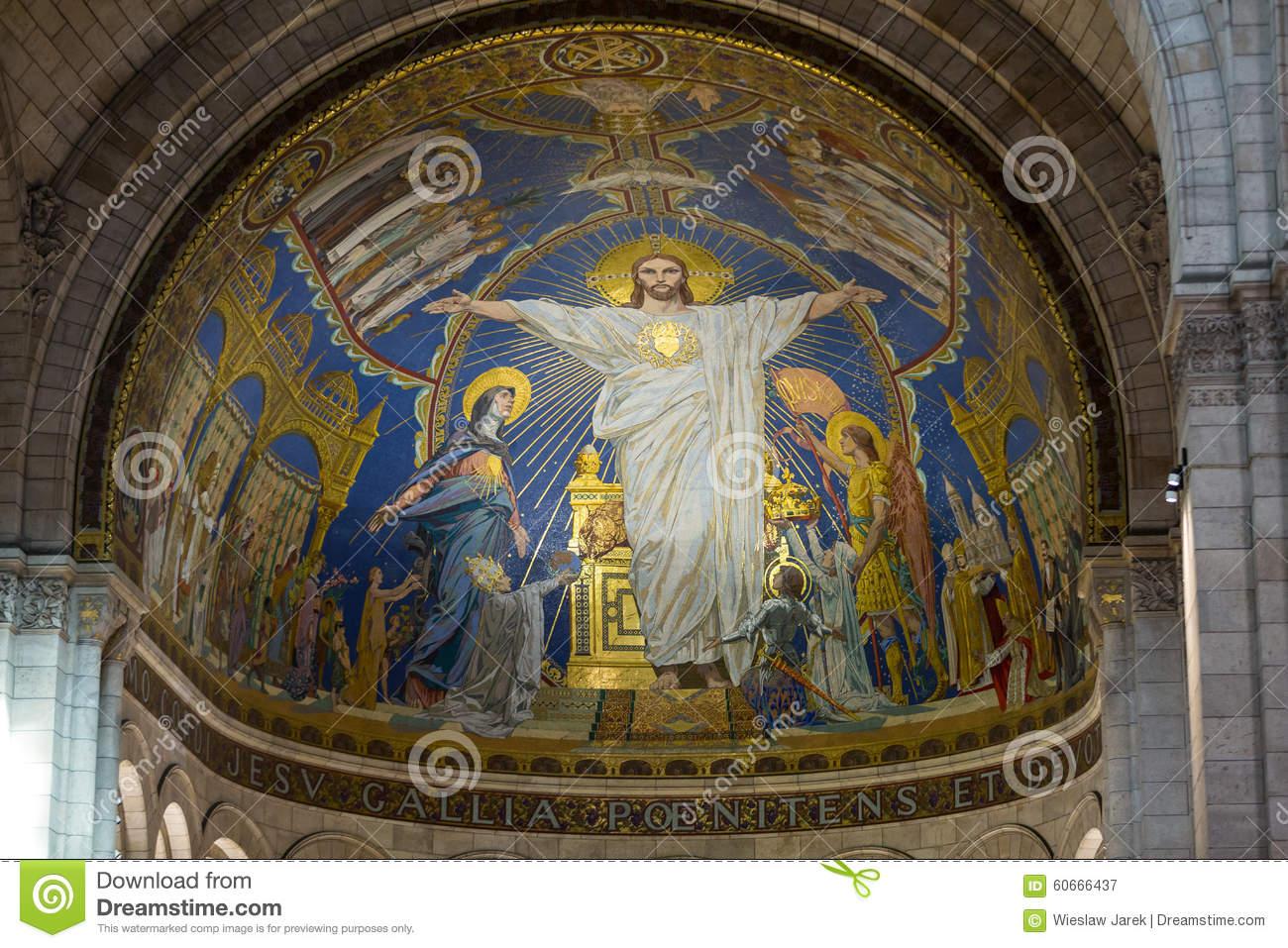 Basilica Of The Sacre Coeur On Montmartre, Paris, France Editorial.