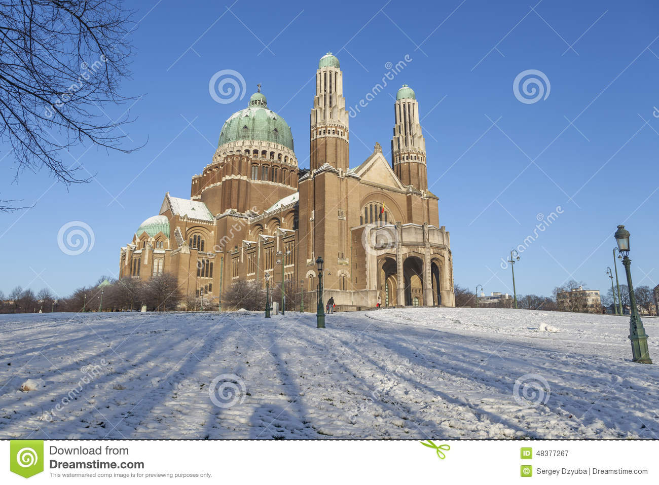 Basilica Of The Sacred Heart, Brussels Stock Photo.