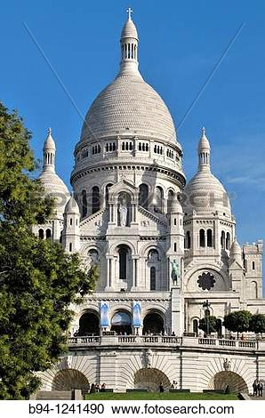 Stock Photography of Basilica of the Sacred Heart, Montmartre.