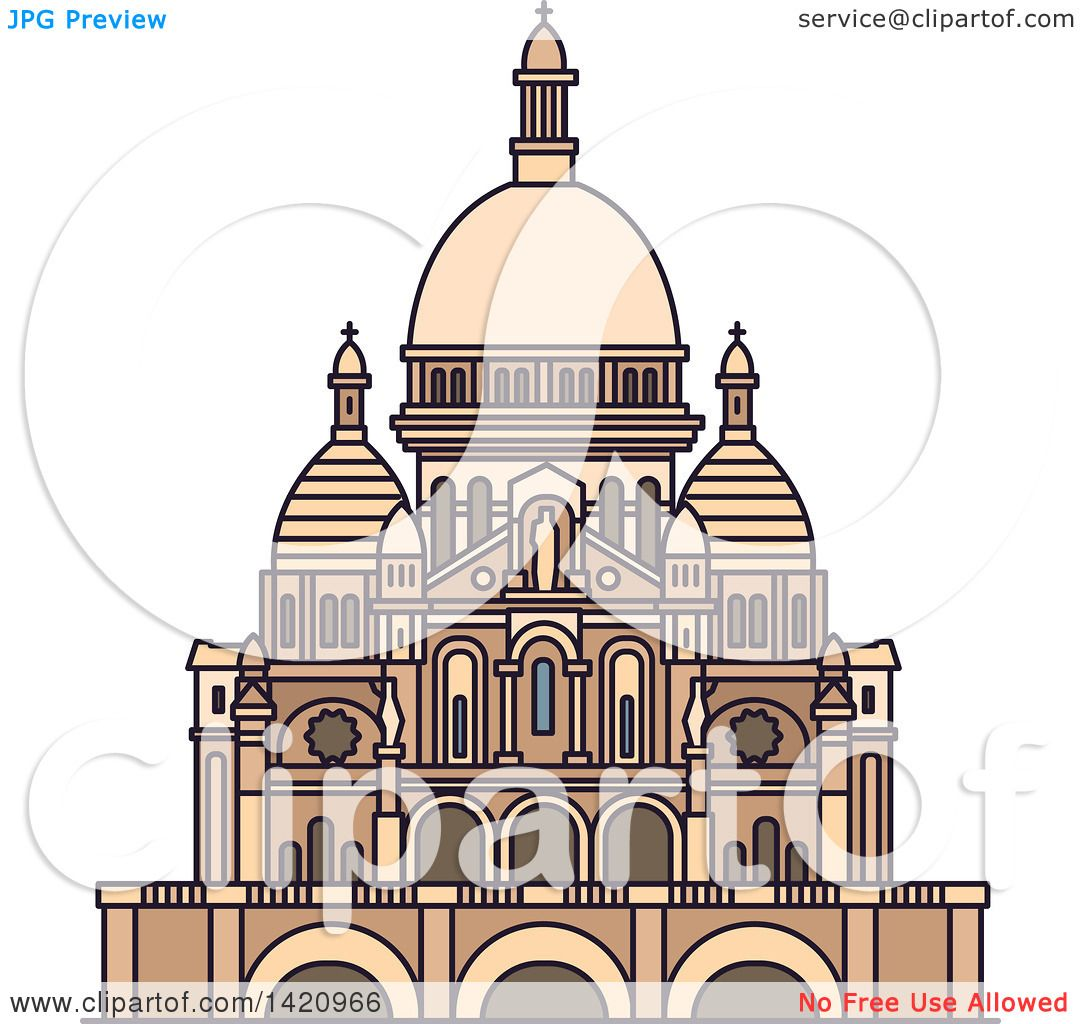 Clipart of a French Landmark, Basilica of the Sacred Heart.