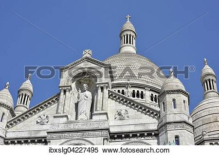 Stock Image of Main portal with statue of Christ, Basilica of the.