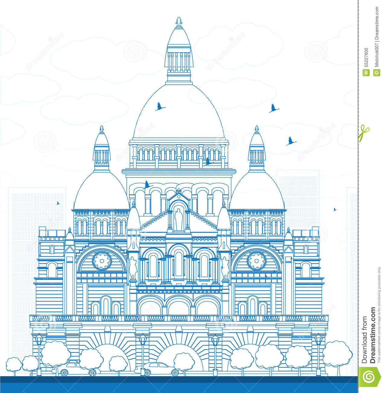 Outline Basilica Of The Sacred Heart, Paris, France Stock Vector.
