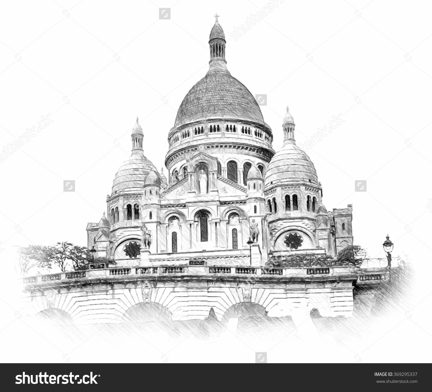 Basilica Sacre Coeur Montmartre Paris Illustration Stock.