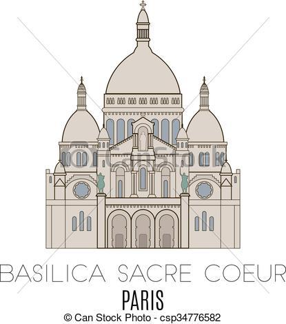 Vecteur de paris, Sacre, basilique, Coeur.