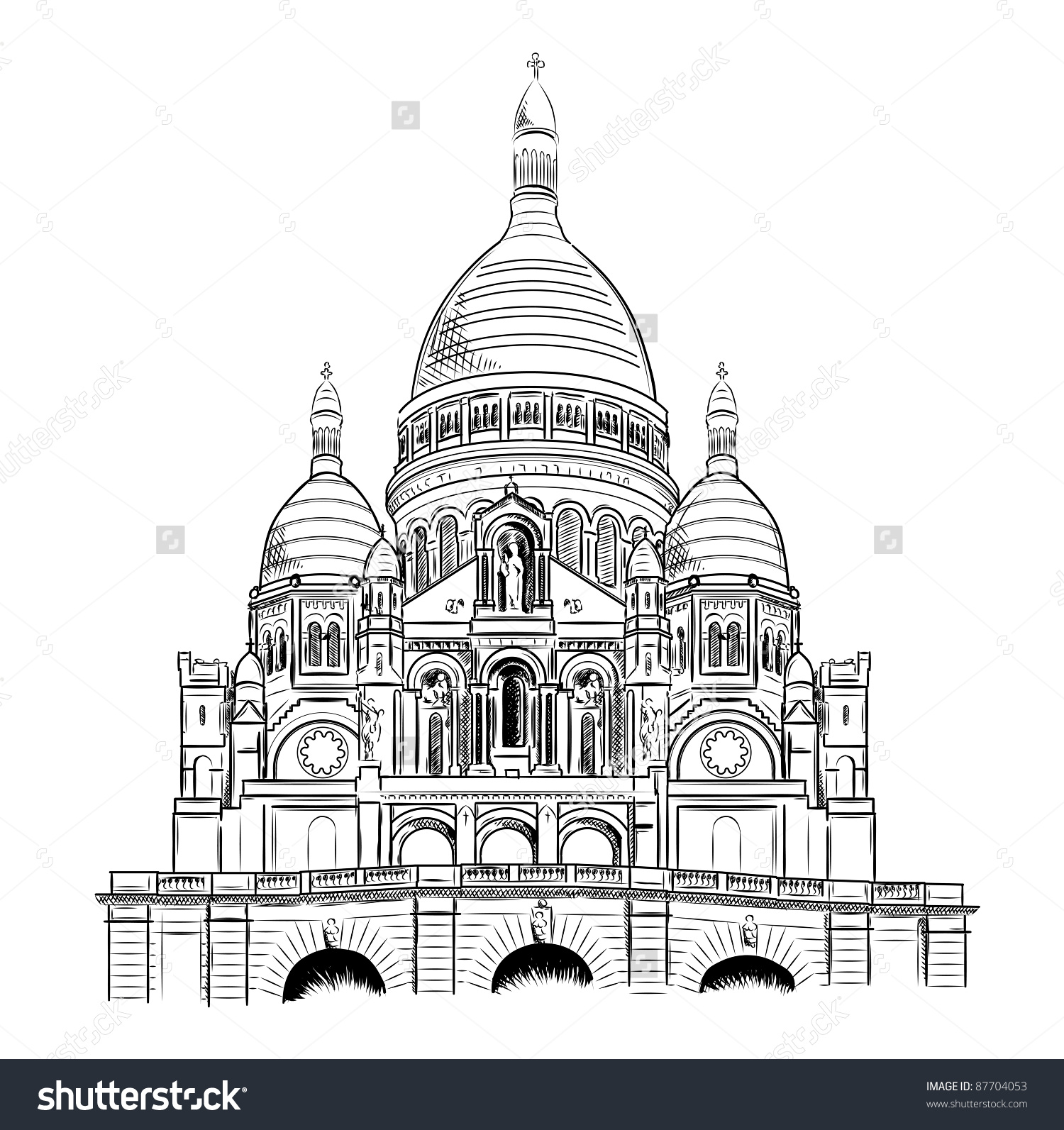 Sacre Coeur Isolated On White Stock Vector 87704053.