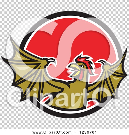 Clipart of a Winged Rooster Snake Basilisk in a Red Circle.