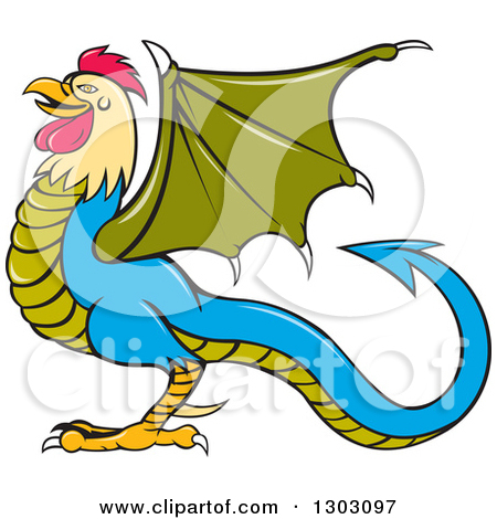 Clipart of a Cartoon Basilisk Fantasy Creature in Profile, Facing.