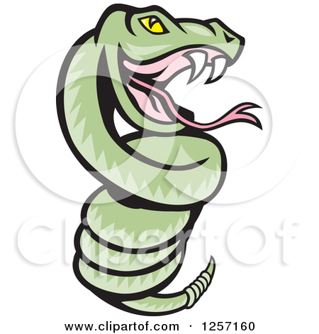 Clipart of a Cartoon Green Rattle Snake Coiled.