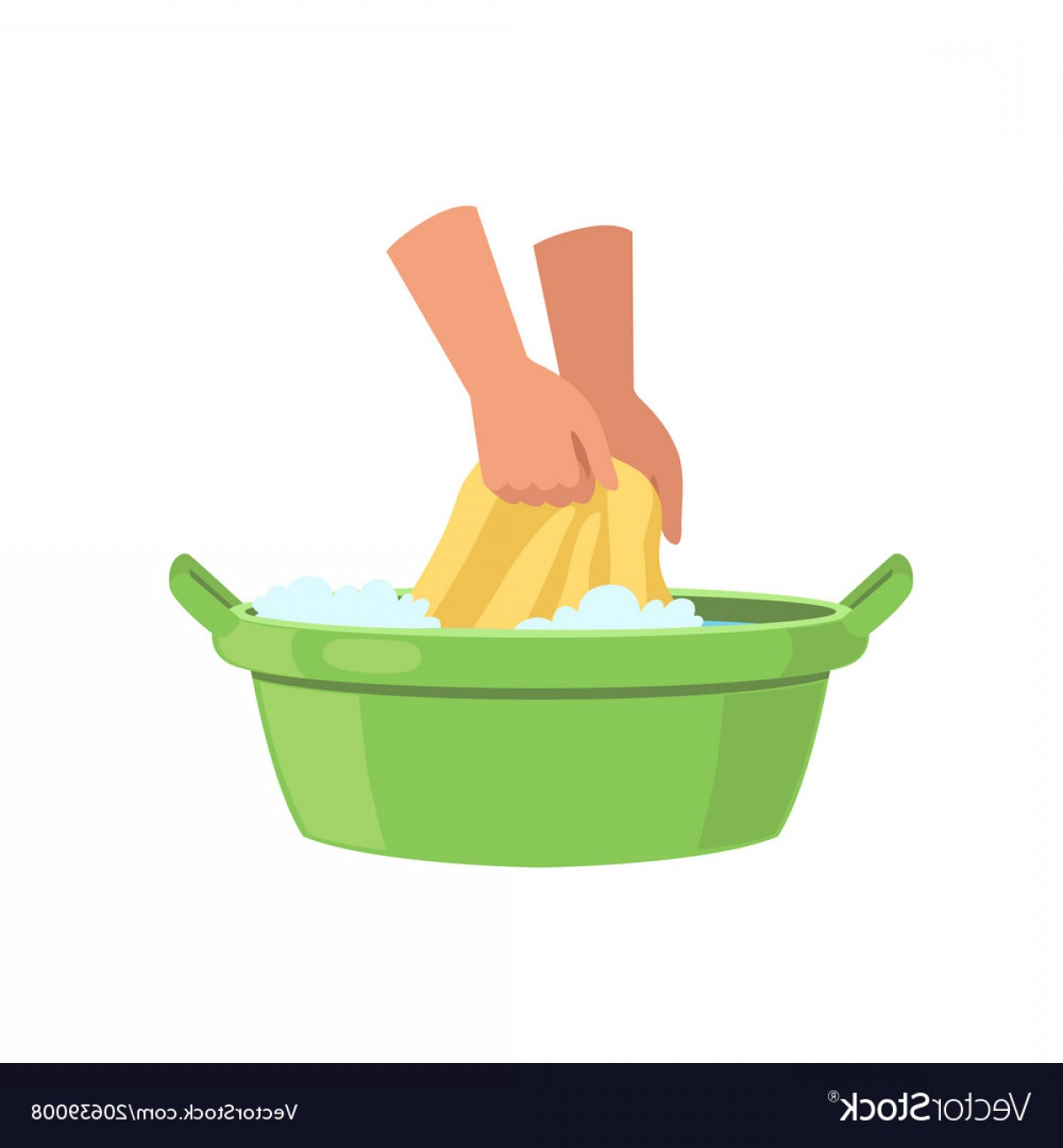 Washing Clothes In Green Basin By Hands Cleaning Vector.