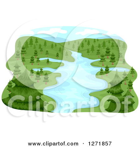 Clipart of a Lush River Basin and Evergreen Trees.