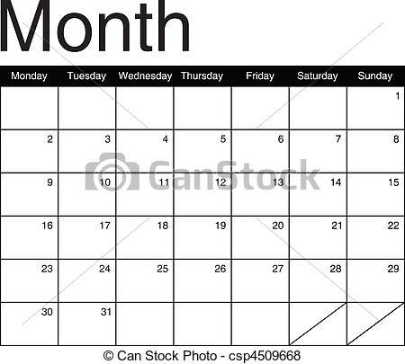 Basis for a monthly calendar.