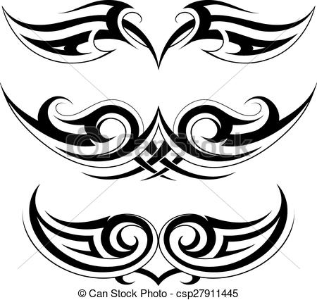 EPS Vector of Set of tattoo shapes on symmetry basis.