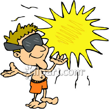 Cartoon Clipart Picture of a Man Basking in the Sun.