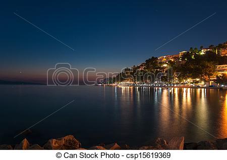 Stock Image of Baska Voda in Croatia at night..