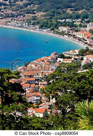 Stock Photo of Adriatic town of Baska vertical aerial view, Krk.