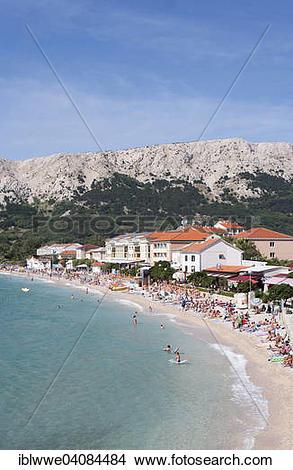 Stock Photo of Promenade and beach of Baska, Krk, Kvarner Gulf.
