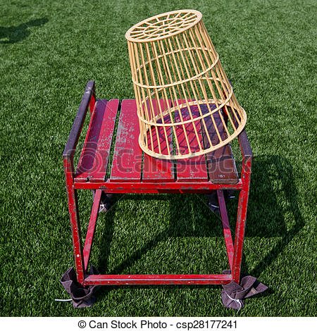 Stock Photo of pair of chairball basket and chair with lawn yard.