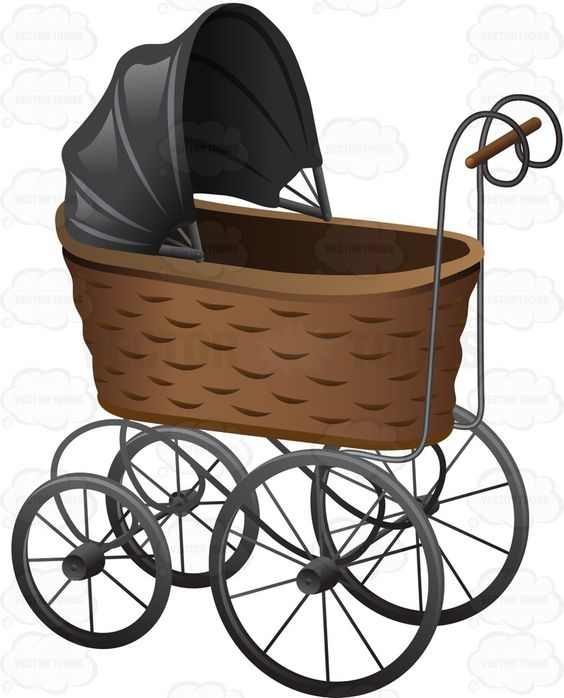 A Vintage Basket Style Stroller With Metal Wheels.