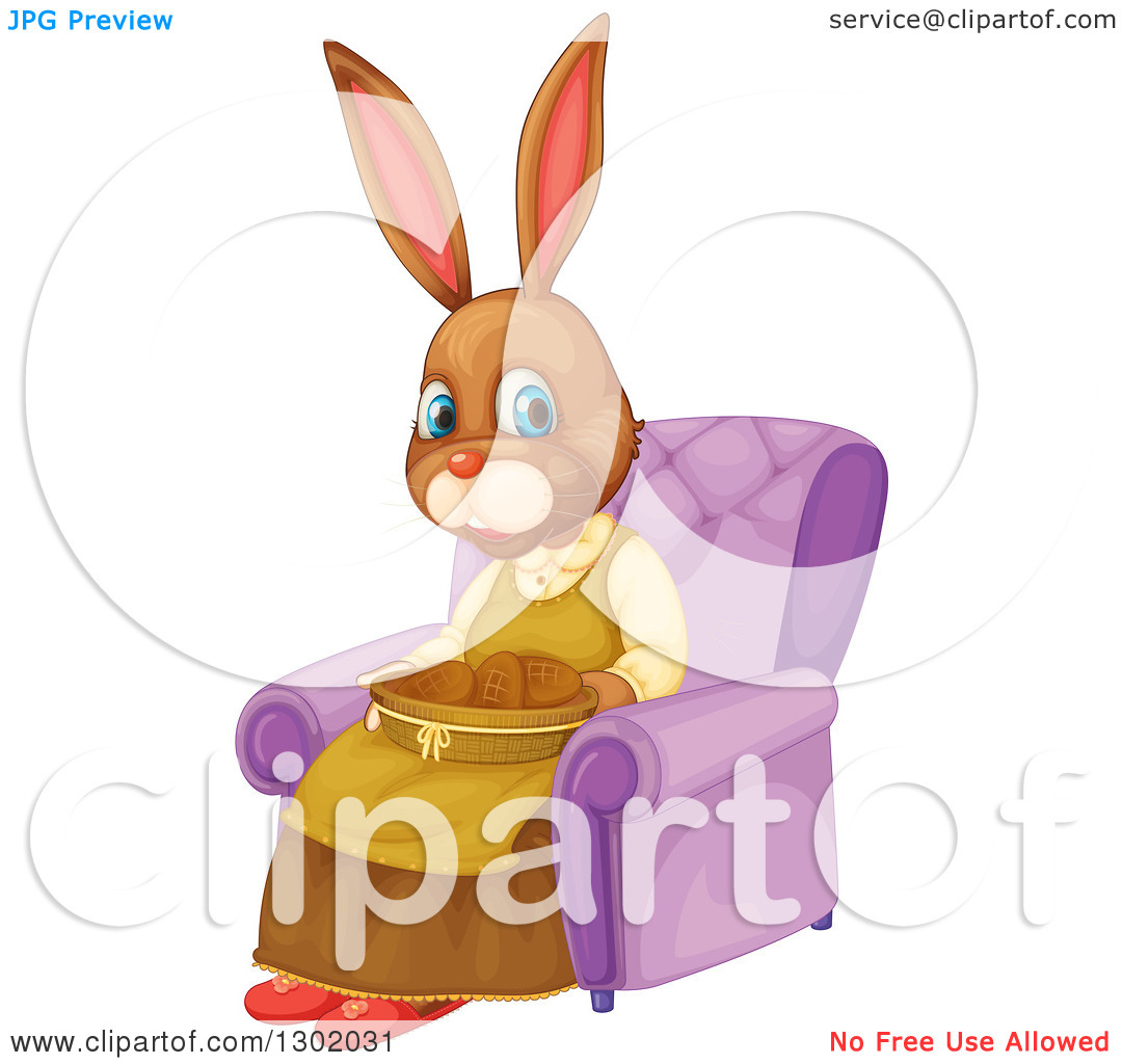 Clipart of a Mother Bunny Rabbit with a Basket of Cookies, Sitting.