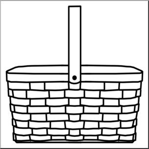 Clip Art: Picnic Basket B&W I abcteach.com.