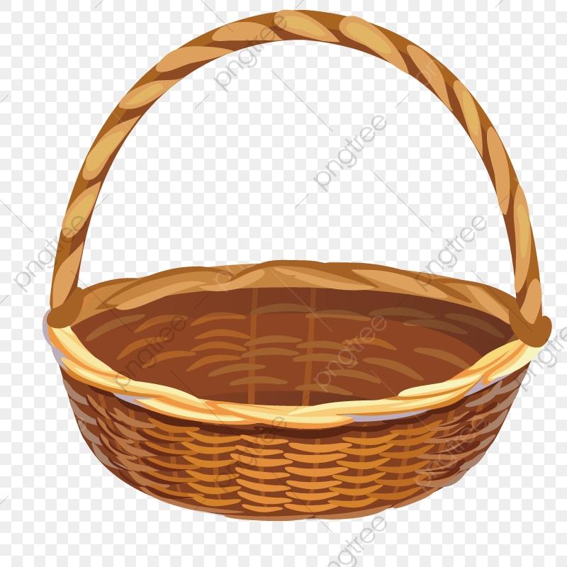 Wooden Basket, Baskets, Hand Painted, Model PNG Transparent Image.