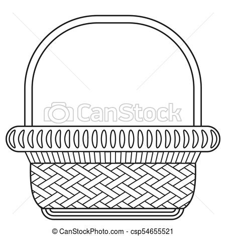 Line art black and white wicker basket shopping cart icon poster..