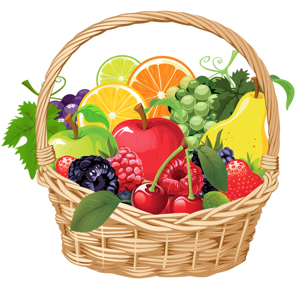 Fruit Basket PNG Vector Clipart.