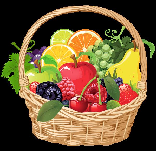 Fruit Basket PNG Vector Clipart.