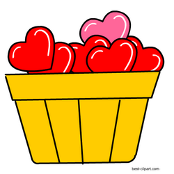 Basket full of hearts, free clipart.