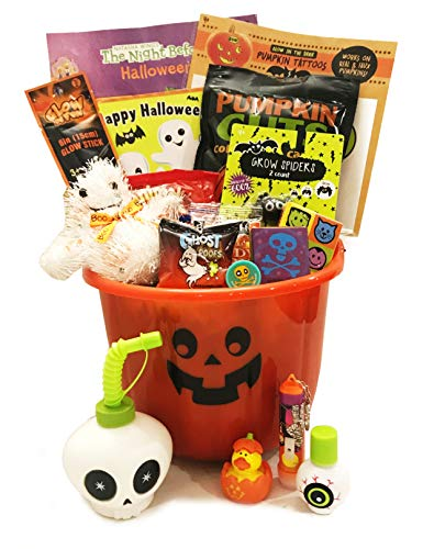 Filled Halloween Gift Basket For Young Boy or Girl.