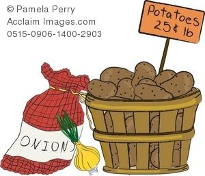 Clip Art Illustration of a Basket of Potatoes and a Bag of.