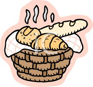 Basket Of Bread Clipart.