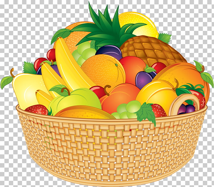 Basket of Fruit Cartoon, fruits basket, still life.