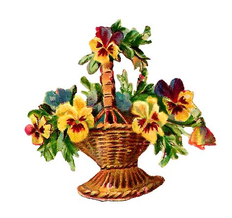 Antique Images: Free Vintage Digital Flower Basket Clip Art.