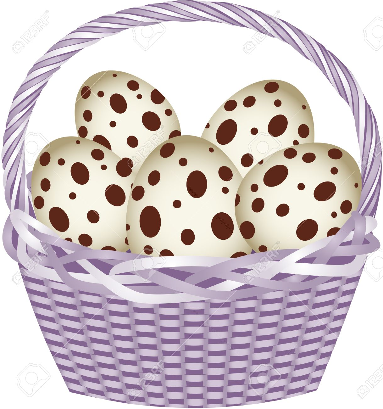 Basket with easter quail eggs.