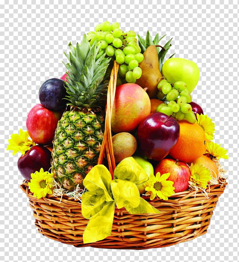 Variety of fruits in basket , Basket of Fruit Food Gift.