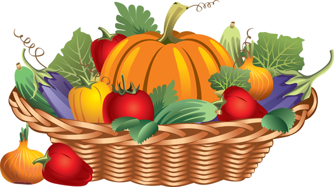 Fruits And Vegetables In A Basket Clipart.