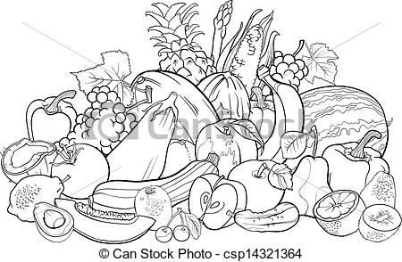 Basket Of Fruits And Vegetables Clipart Black And White.