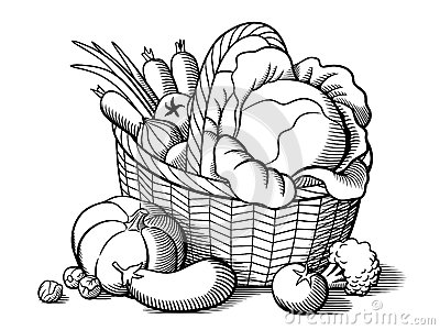 Basket With Vegetables Stock Vector.