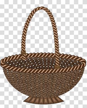 Brown wicker basket illustration transparent background PNG clipart.