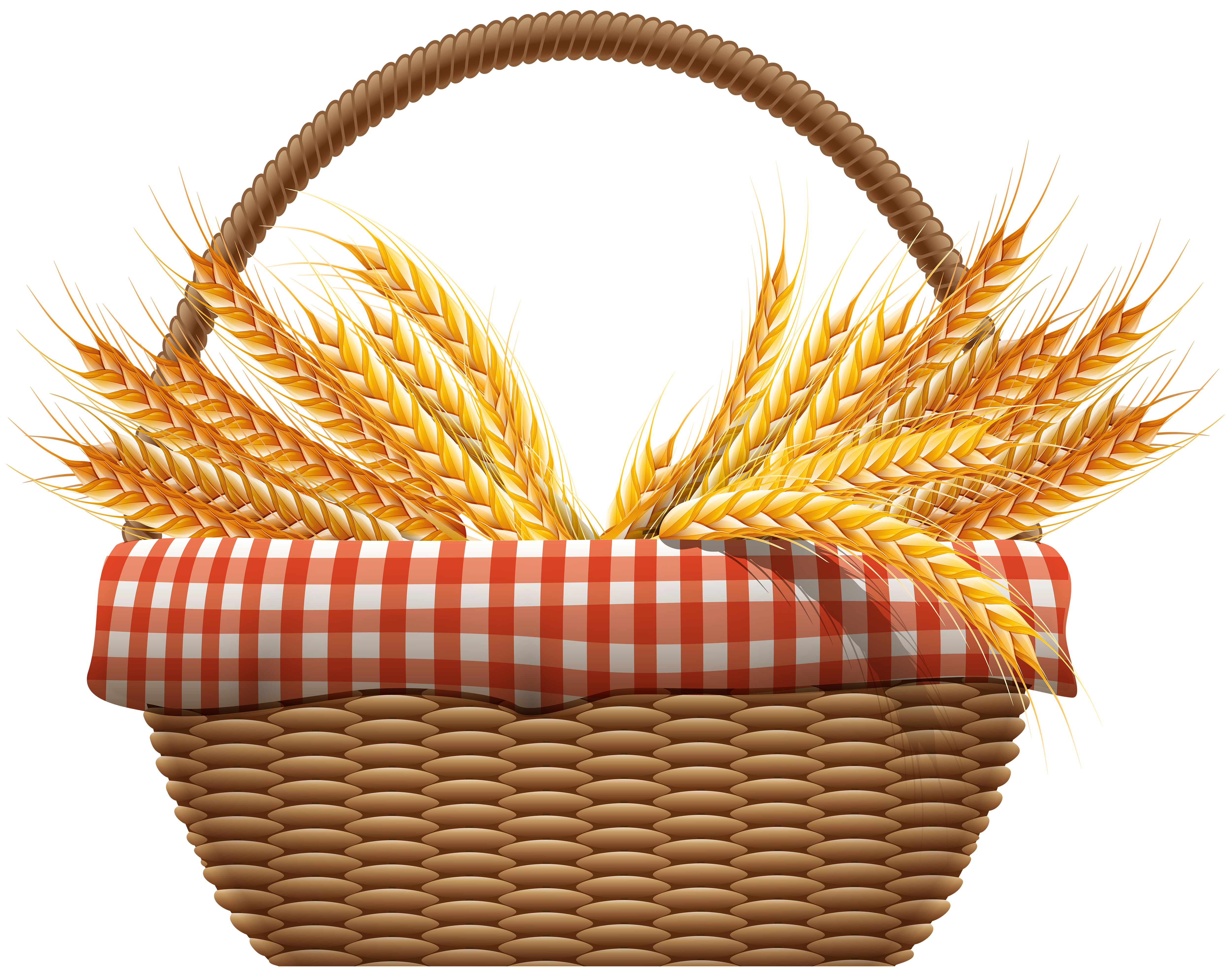 Autumn Basket with Wheat PNG Clip Art Image.