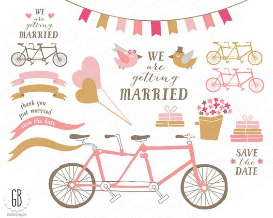Tandem bicycle clip art, balloons, bride, groom, ribbons, flower.