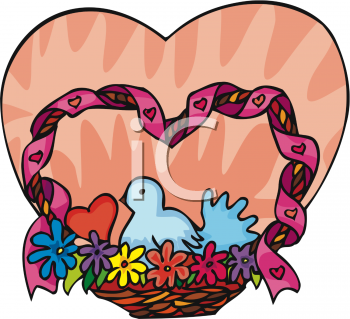 Clipart Picture of a Dove In a Heart Shaped Basket.