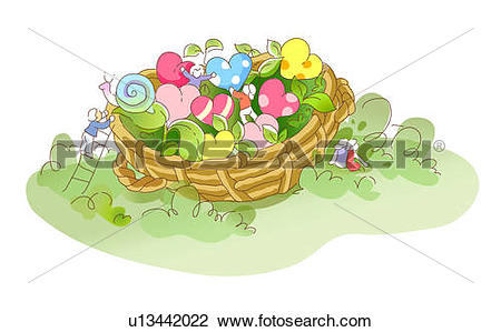 Clip Art of Basket with heart shaped flowers u13442022.